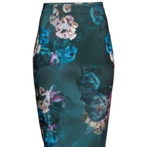 H&M floral print pencil skirt